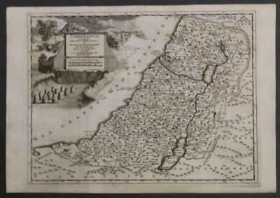 Israel Holy Land Palestine 1736 Van Der Aa Antique Original Copper Engraved Map