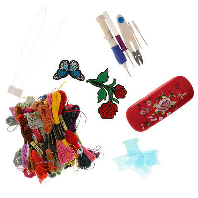 Hand Cross Stitch Embroidery Starter Kits for Women Men DIY Needlework Tools