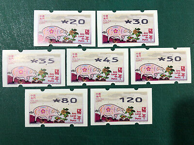 Macau 2019 Zodiac New Year Of The Pig Atm Labels Nagler 704 Machine Set Of 7 Val