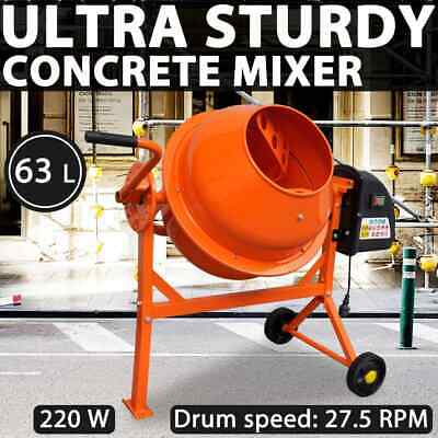 vidaXL Electric Concrete Mixer 63L 220W Steel Orange Masonry Farm Application