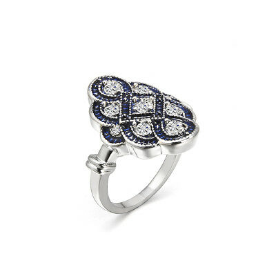 Art Deco Women Wedding Engagement Ring White Sapphire Silver Jewelry Size 6-10