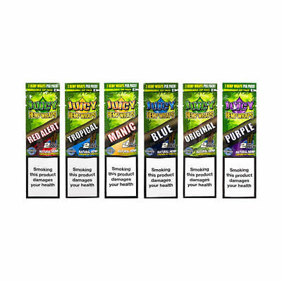 6x Juicy Jays Double Hemp Blunts Rolling Papers - Variety Flavors