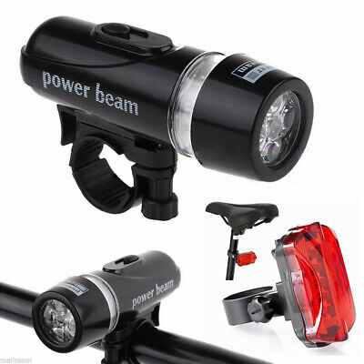 5 LED Lamp Bike Bicycle Front Head Light Rear Safety Flashlight Waterproof Set