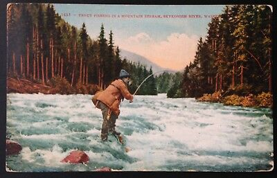 Skykomish River, Wa. C.1910 Postcard~Trout Fishing In A Mountain Stream