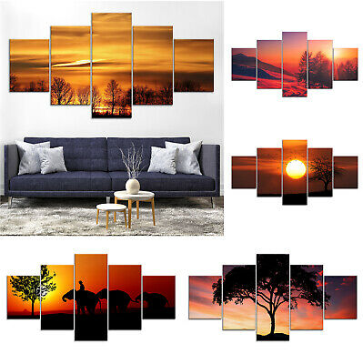 Warm Sunset Tree Canvas Print Painting Framed Home Decor Wall Art Poster 5Pcs