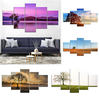 Lonely Tree Lake Canvas Print Painting Framed Home Decor Wall Art Poster 5Pcs