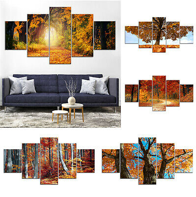 Autumn Tree Canvas Print Painting Framed Home Decor Wall Art Poster 5Pcs