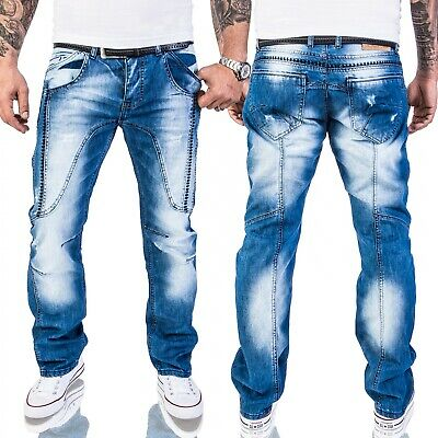 Rock-Creek Herren Jeans Destroyed Denim Vintage Hose Stone Wash RC-2011