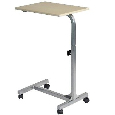 Medical Bedside Table Office Desk Rolling Adjustable Portable Tray Sofa Side NEW