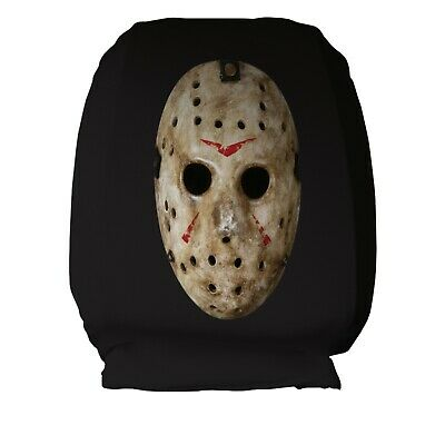 Horror Hockey Mask Design Car Seat Head Rest Covers Pack Of Two Halloween