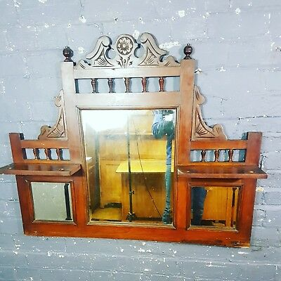 Antique Mahogany Surround Victorian Overmantle Mirror with Bevelled Edges
