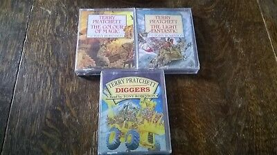 3 Unopened  Audio Book Cassettes. Terry Pratchett Read By Tony Robinson. See Des