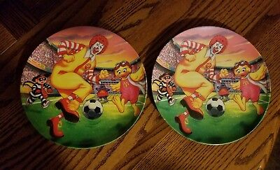 "2 Ronald McDonald and Friends Soccer Plates 9"" New *Very Colorful 2002"