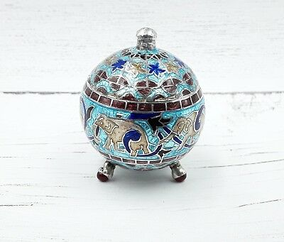 ANTIQUE INDIAN ENAMELLED LIDDED SILVER jar Cloisonné semi precious stone