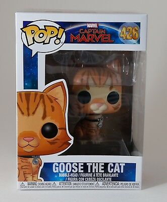 Funko Pop Captain Marvel Goose the Cat #426 Set - w/ Flocked BoxLunch Exclusive