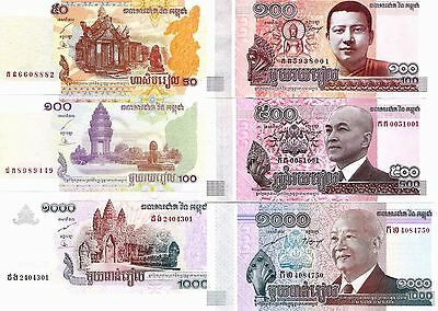 Nice Lot Cambodia 6 Banknotes All Different Sc