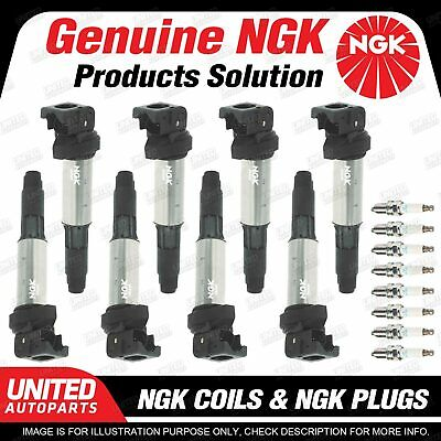 NGK 8 Spark Plugs + 8 Igniton Coils For BMW 6 7 Series E60 E65 E63 E66 X5 E53