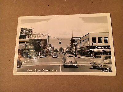 Vintage Street scene 2 Everett Washington RPPC real photo post card