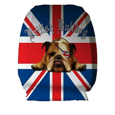 British Bulldog Union jack Design Car Seat Head Rest Covers Pack Of Two Gift