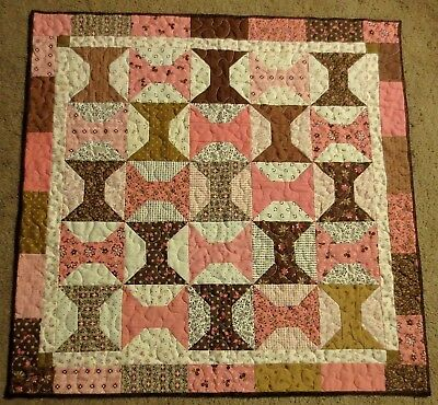 "Hand Made Quilted Table Runner/Topper~ 27"" square ~ Brown, Pink, Off white"