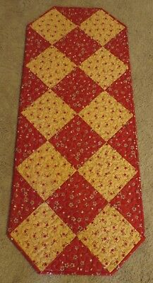 "Hand Made Quilted Table Runner/Topper~ 15 1/2"" x 38"" ~ Tan, Red"