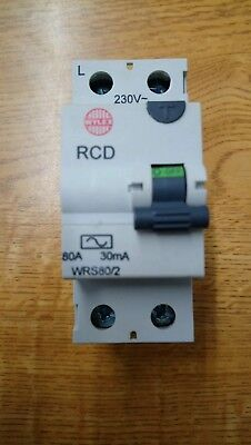 Wylex WRS80//2 Incomer Device 80A 30mA Double Pole Fuse Breaker Electric Meter