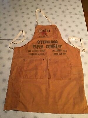 Vtg Shop Bib Apron Gilbert Quality Sterling Paper Co. Columbus, Mansfield OH.
