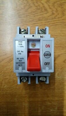 Wylex Main Switch Disconnector 100 Amp Double Pole Isolator 100A 810