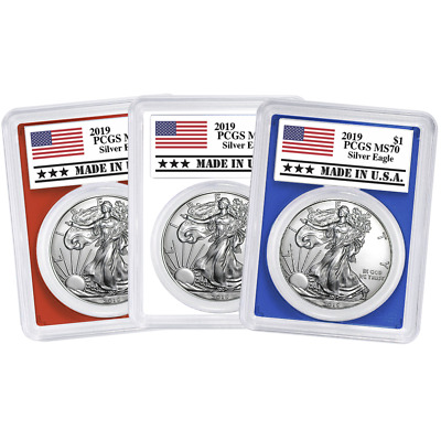2019 $1 American Silver Eagle 3pc. Set PCGS MS70 Made in USA Label Red White Blu