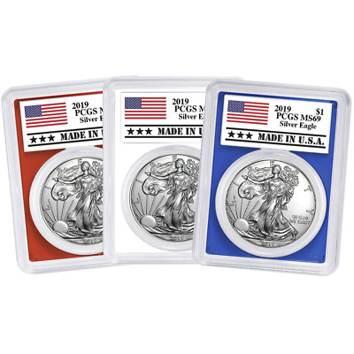 2019 $1 American Silver Eagle 3pc. Set PCGS MS69 Made in USA Label Red White Blu
