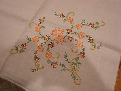 VINTAGE LINEN TABLECLOTH EMBROIDERED FLOWERS 4' sq.