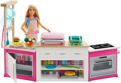 Barbie Careers Ultimate Kitchen With Doll Playdough, Cooking, Baking Toy Playset