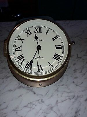 Westclox Quartzmatic Ships Wall Clock In Brass. Battery Driven Runs Well