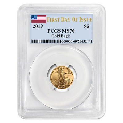 2019 $5 American Gold Eagle 1/10 oz. PCGS MS70 FDOI Flag Label