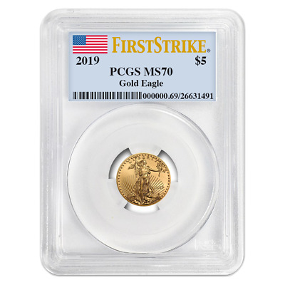 2019 $5 American Gold Eagle 1/10 oz. PCGS MS70 First Strike Flag Label