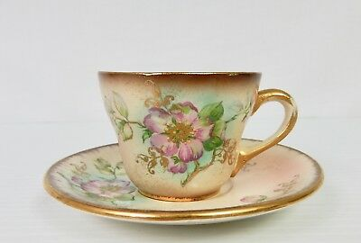 """Vintage LECOT CHINA Hand Painted """"Dusty Blossom"""" Demitasse Cup & Saucer"""