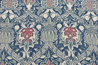 "WILLIAM MORRIS CURTAIN FABRIC DESIGN ""Granada"" 2.6 METRES INDIGO/RED 100% LINEN"