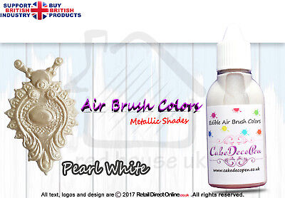 Metallic Edible Colours | Air Brush Cake Decorating | 20 ML | Pearl White Effect