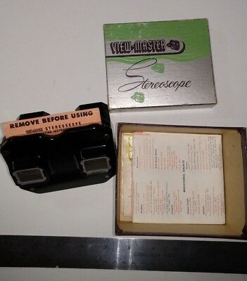 Vintage Sawyer 1950 Viewmaster in box with documents and 30+ reels VG+
