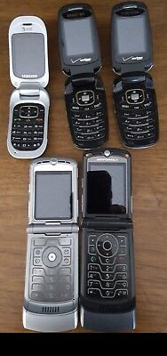 Old Flip Phones 2 Motorola 3 Samsung W/Some Chargers, They may work, All need ba