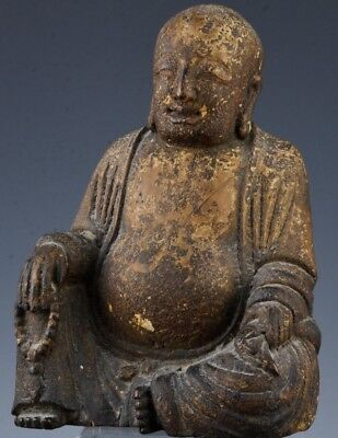 Finely Carved Chinese Lacquer Hardwood Buddha Holding Prayer Beads Ming Dynasty