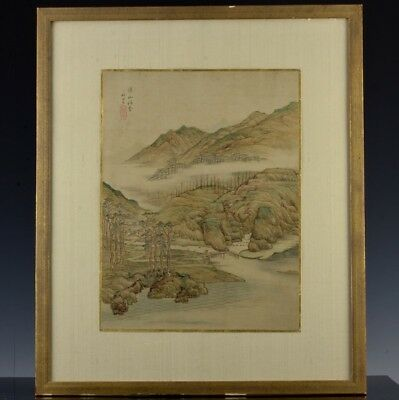Fine Antique Chinese Painted Silk Mountain Landscape Framed Scroll Seal Marks 1