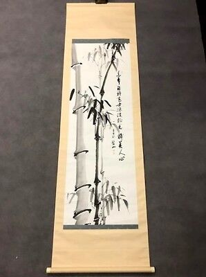 Fine Old Chinese Or Japanese Silk Scroll Bamboo Scenic Painting Signed