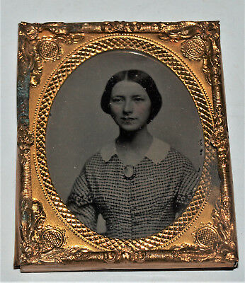 Ambrotype Photo of Woman with a Brooch 1/9th Plate