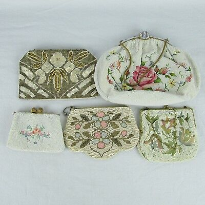 Clutch Purse Ornate Beaded Handbag Antique Lot of 5 Vintage 1920's
