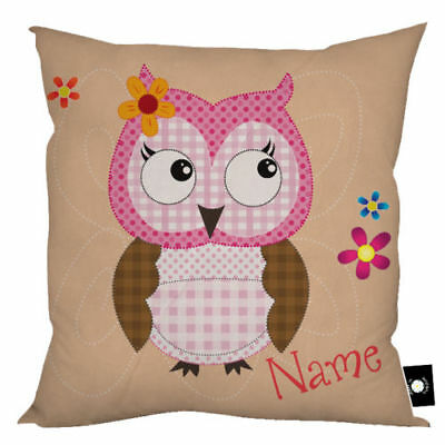 """Personalised Cute Owl Design 18x18"""" Children's Cushion Gift Birthday 4 Colours"""