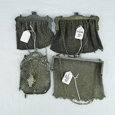 German Silver Handbag Antique Lot of 4 Ring Mesh 1920's Plated Purses