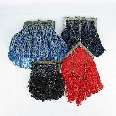 Fringe Bead BOHO Handbag Antique Lot of 4 Art Deco Silver Plated Clasps