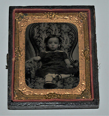 Ambrotype Photo of a Young Girl sitting in Chair 1/9 Plate