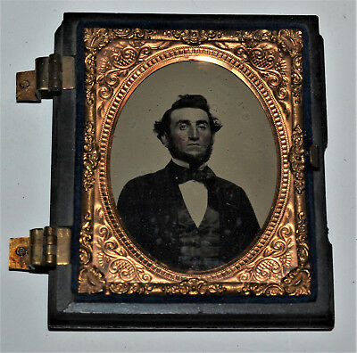 Ambrotype Photo of a Man in half a Union Case 1/9 plate